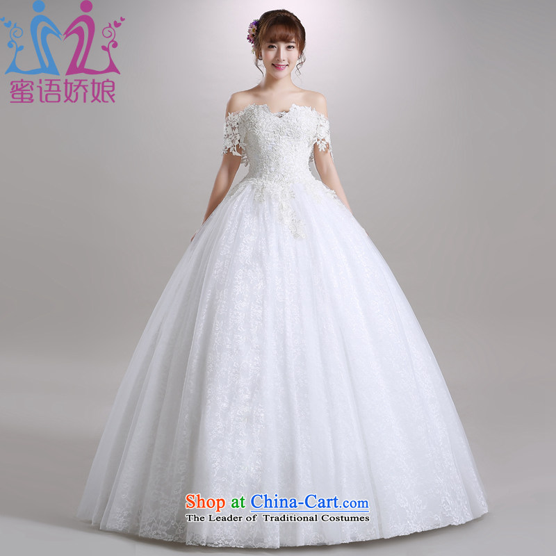 Talk to Her Wedding Dress 2015 autumn and winter the word of the new package to your shoulders large Korean version marriages went out of thin white tailored