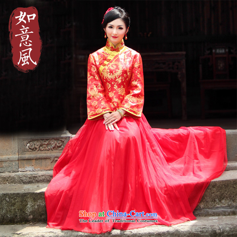 After a new wind 2015 Fall/Winter Collections bows Services folder cotton chinese red color wedding dresses marriage qipao�0158 bride dress large�L