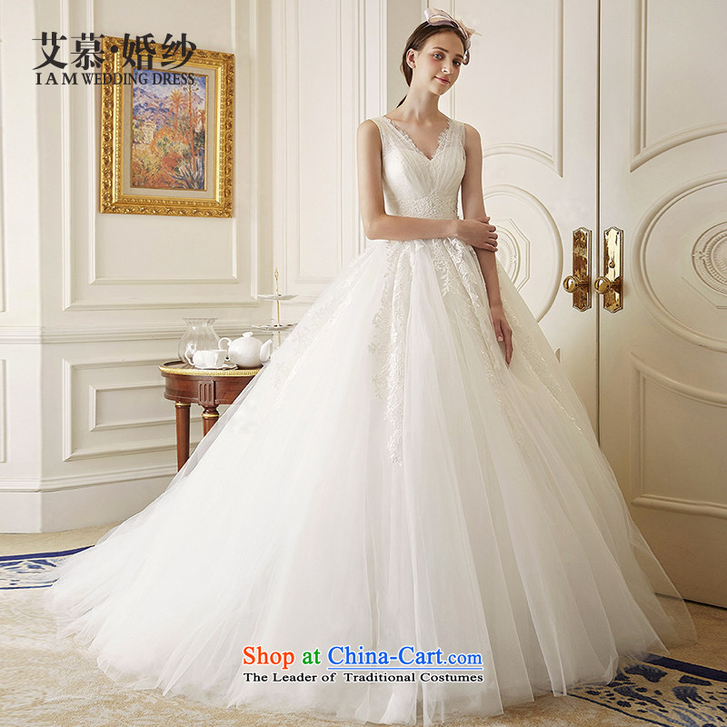 Wedding dress 2015 New Chu lace shoulders deep V bon bon skirt long tail wedding ivory�S