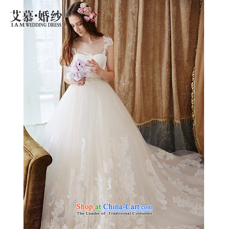 Wedding dress 2015 new love of lace bon bon skirt long tail Korean wedding ivory S