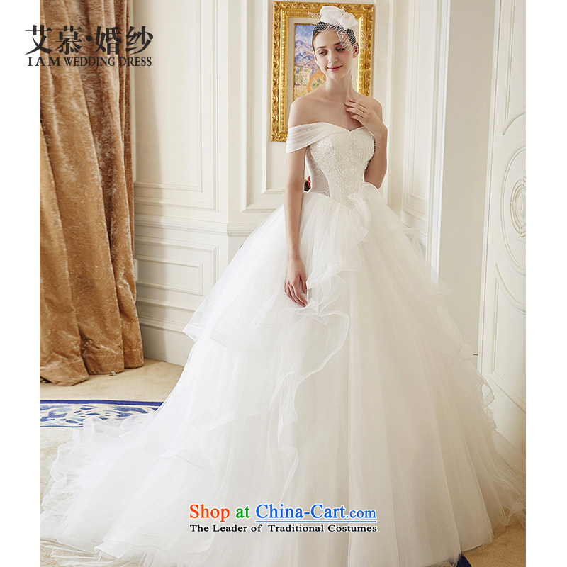 The wedding dresses HIV autumn 2015 new Atom a field shoulder lace long tail wedding ivory?M