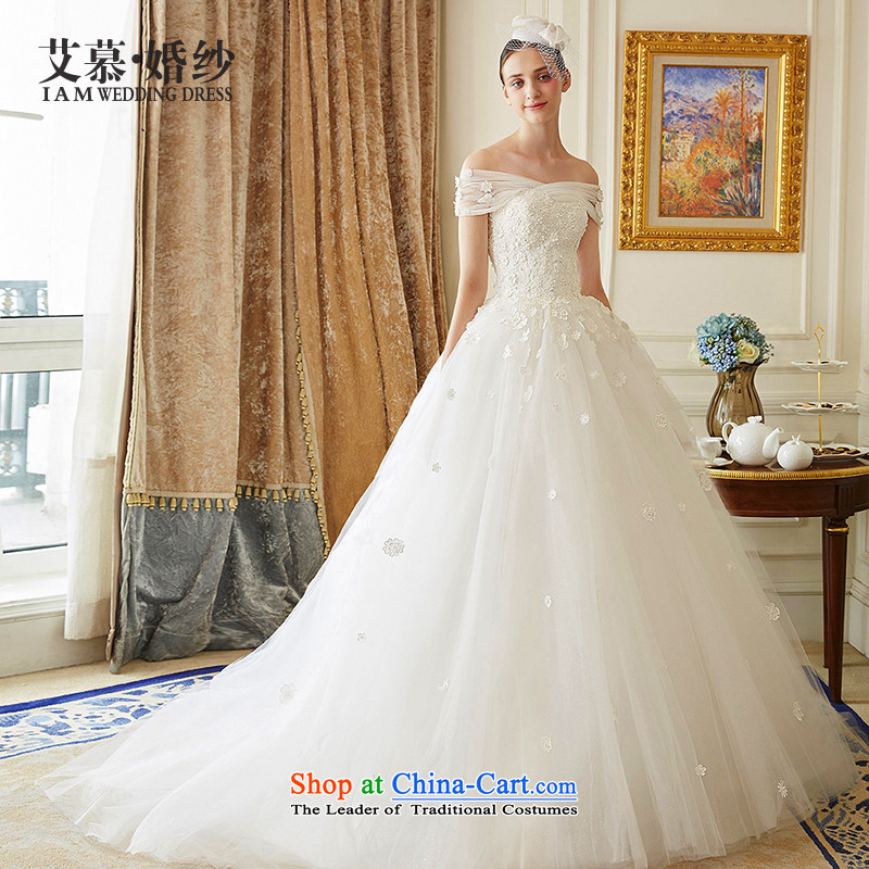 The wedding dresses HIV New Word 2015 Flower Overgrown Tomb shoulder bon bon skirt lace long tail wedding ivory?M