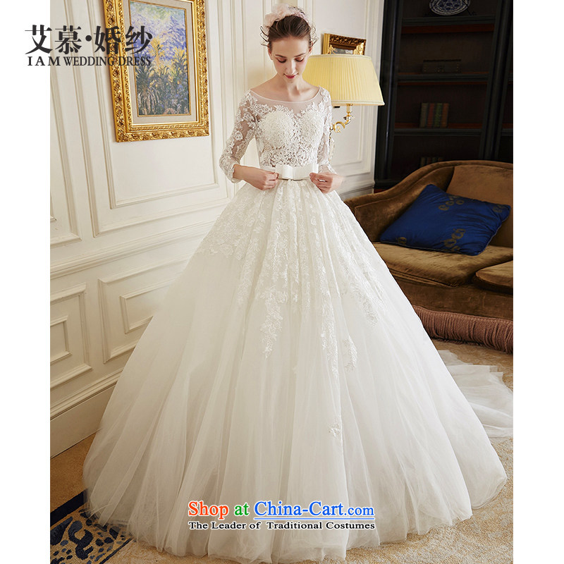 The wedding dresses HIV?2015 New Ling Ching long-sleeved lace bon bon skirt long tail wedding ivory?L