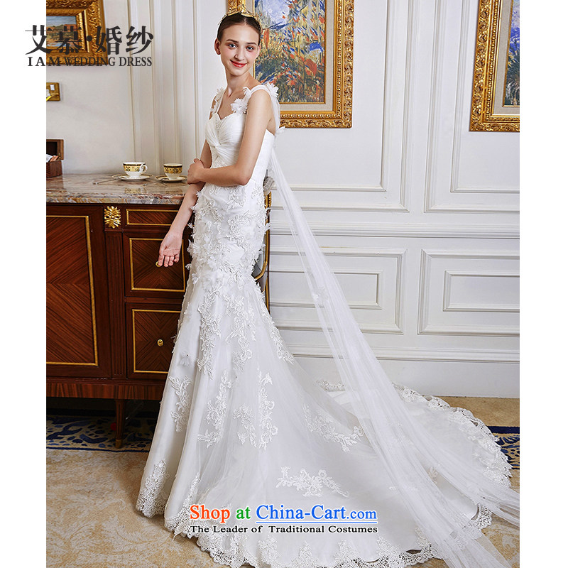 The wedding dresses HIV NEW 2015 Yu Hsuan shoulders foutune crowsfoot lace wedding ivory?L