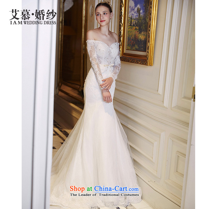 The wedding dresses HIV NEW 2015 dream included long-sleeved foutune crowsfoot anointed chest wedding ivory?M