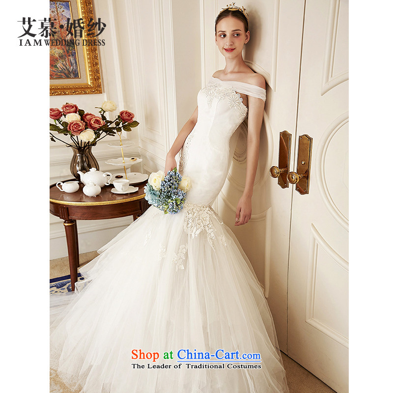 The wedding dresses HIV NEW 2015 a detailed field shoulder lace foutune crowsfoot wedding ivory L