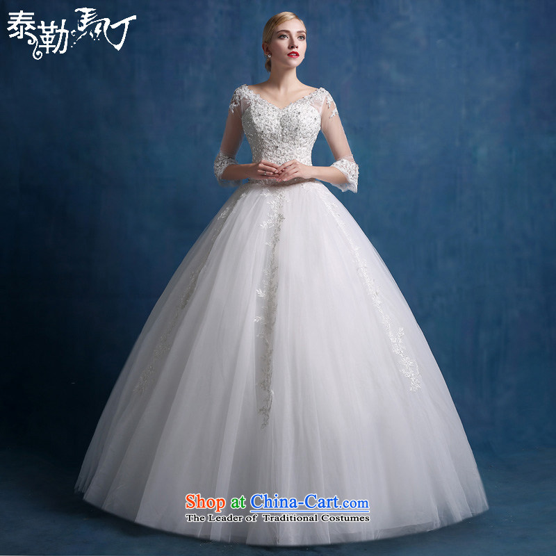 Martin Taylor wedding dresses new stylish Korean style large 2015 code to a thin align graphics field shoulder bride long-sleeved pregnant women wedding autumn white _sent three piece_ S