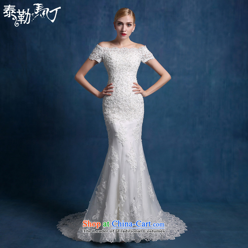 Martin Taylor luxury lace 2015 new bride wedding dresses minimalist Sau San video thin crowsfoot tail of a Korean-style field shoulder white (sent three kit) M