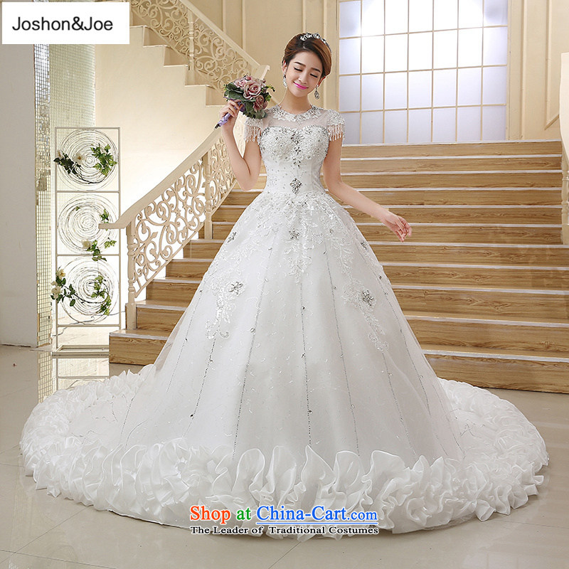 Joshon_joe?bride wedding dresses tail?2015 Winter Korean lace retro-shoulder straps back large water drilling picture color parquet?XXL_72 Hour