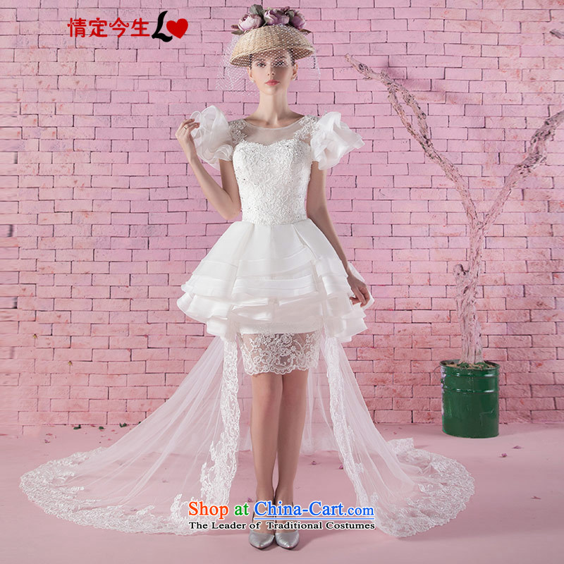 Love of the life of new products in the autumn of 2015, the elegant short shoulder pad white lace wedding fashion romantic tail trailing tailor-made exclusively concept