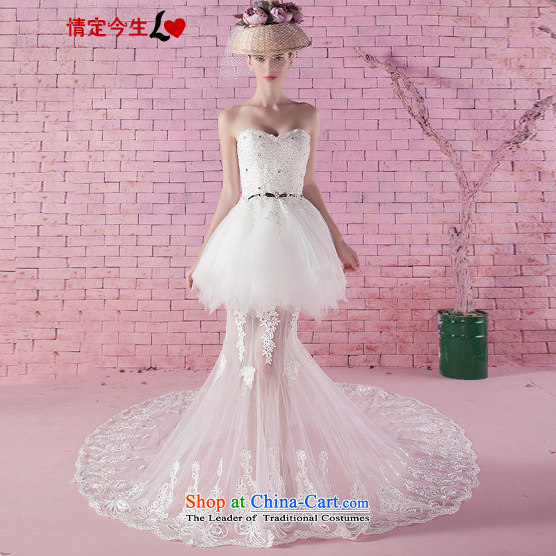 Love of the life of the new 2015 Autumn Korean lace princess bon bon skirts and chest diamond anointed chest video thin tail short of a wedding dress white聽XS