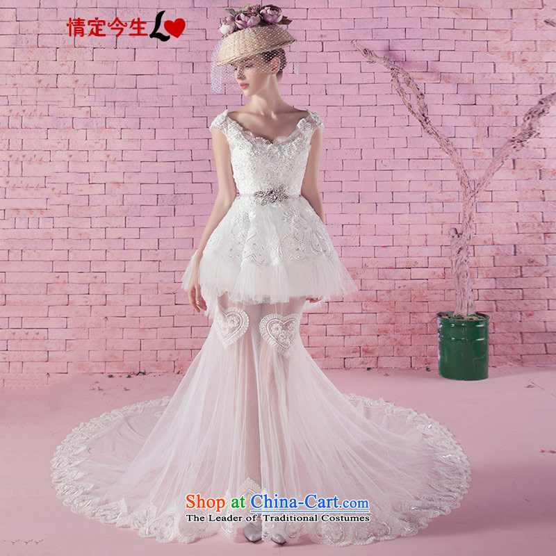 Love of the life of the new 2015 version of the word in the autumn Korea shoulder Diamond Video thin A bon bon skirt short of romantic wedding trailing white tailor-made exclusively concept