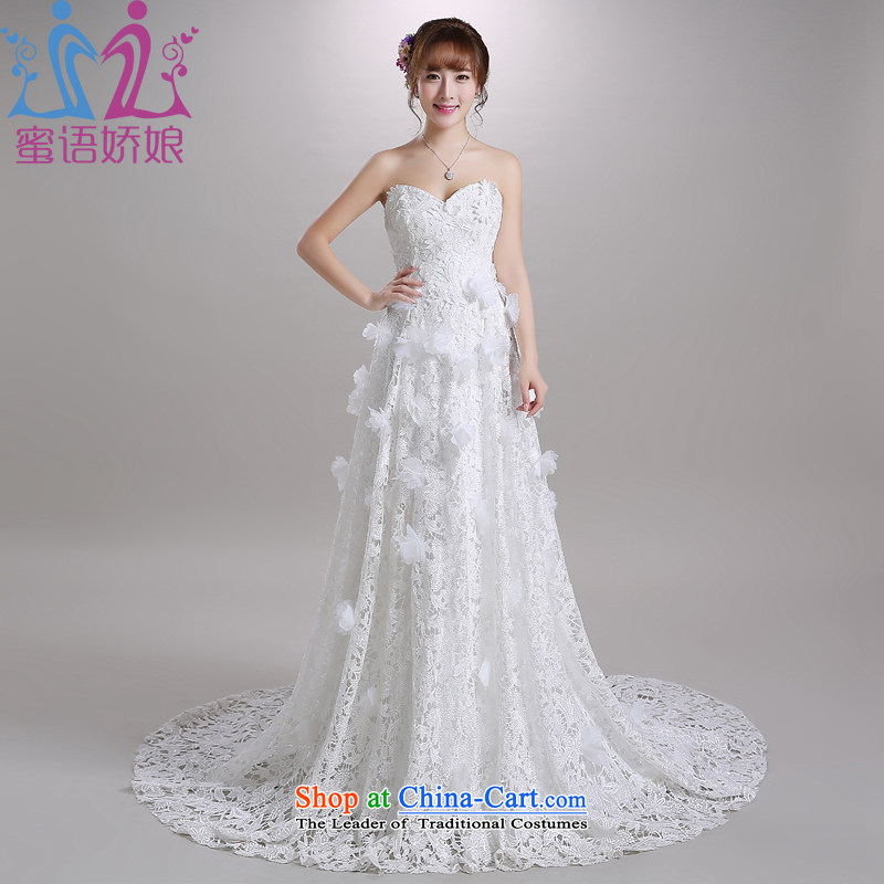 Talk to her聽new 2015 wedding tail anointed chest Korean elegant lace Flower Fairies  large graphics thin bride wedding dress White聽XL