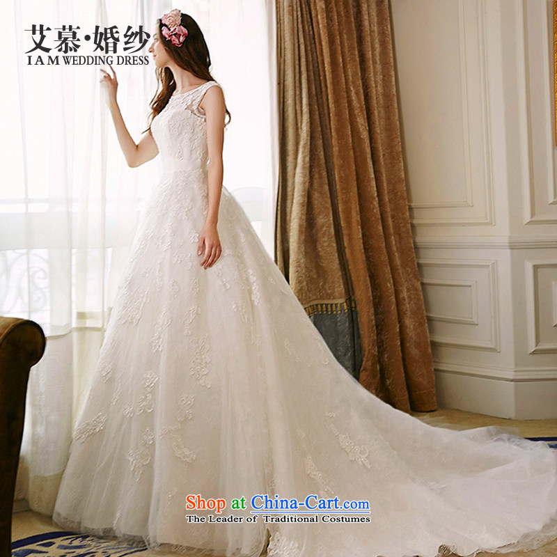 The wedding dresses HIV 2015 new ripple lace bon bon skirt long tail wedding ivory聽L