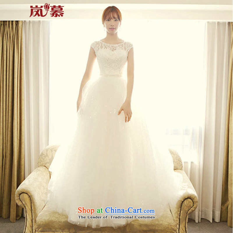 The sponsors of the 2015 New LAURELMARY, Korean Word retro shoulder lace Foutune of graphics to align with thin bon bon skirt bride wedding ivory XL_ chest 95_ waist79_