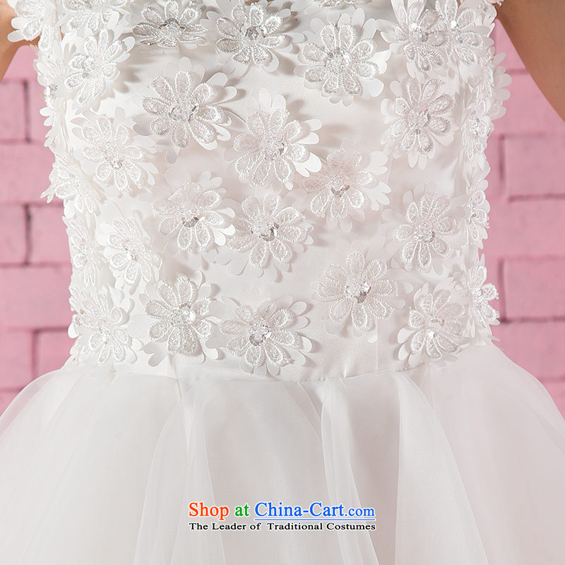 Love of the overcharged new Word 2015 round-neck collar shoulder Korean saika short, bon bon bride Wedding Dress Short white, Bridal Suite white L, love of the overcharged shopping on the Internet has been pressed.