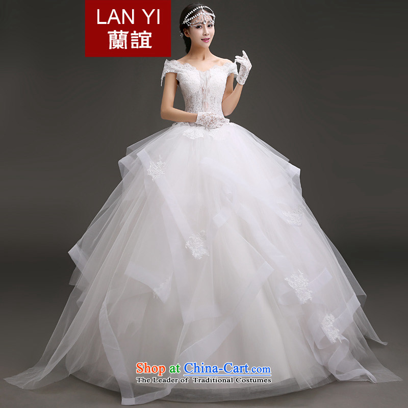 The word Yi Ho shoulder wedding dresses 2015 autumn and winter, new marriages Korean lace thin snap to Sau San video bon bon skirt winter wedding white , within a week after the shipment?S waistline 1.9 feet code