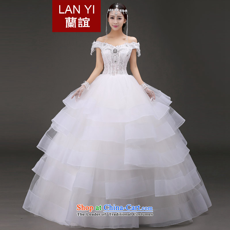 The word Yi Ho shoulder wedding dresses 2015 autumn and winter, new marriages Korean lace Sau San video thin to align the princess bon bon skirt winter wedding white , within a week after the shipment?L code waist 2.1 foot