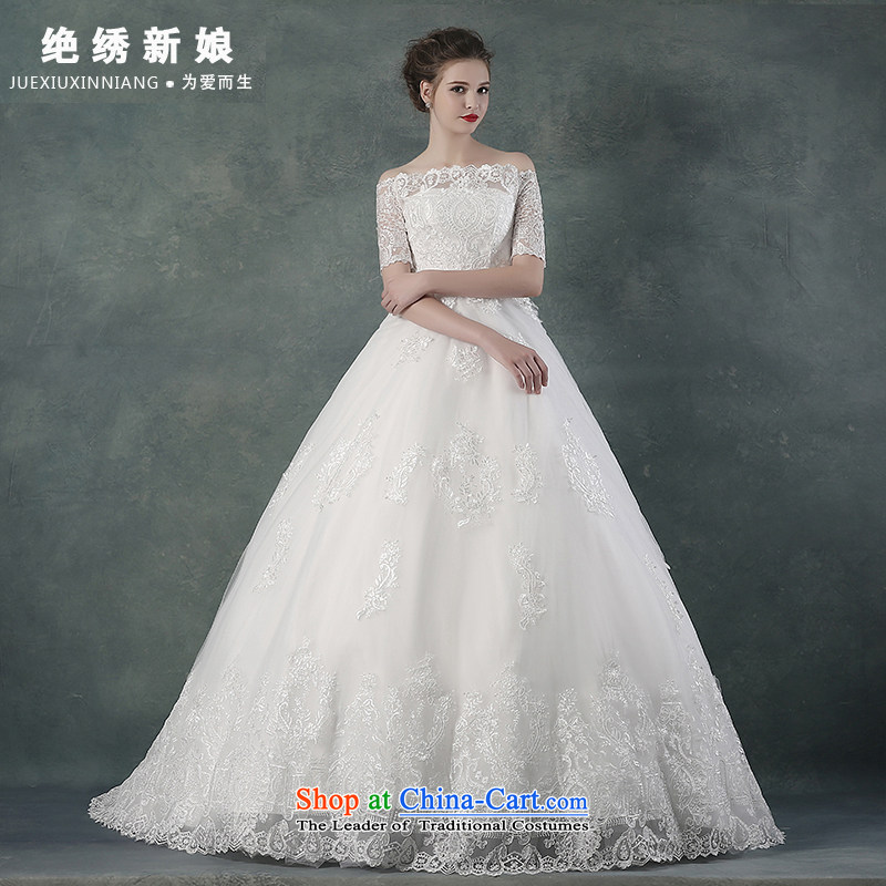 The first field shoulder bride wedding dresses of autumn and winter 2015 new stylish integrated with a large number of video to align the thin trailing?M