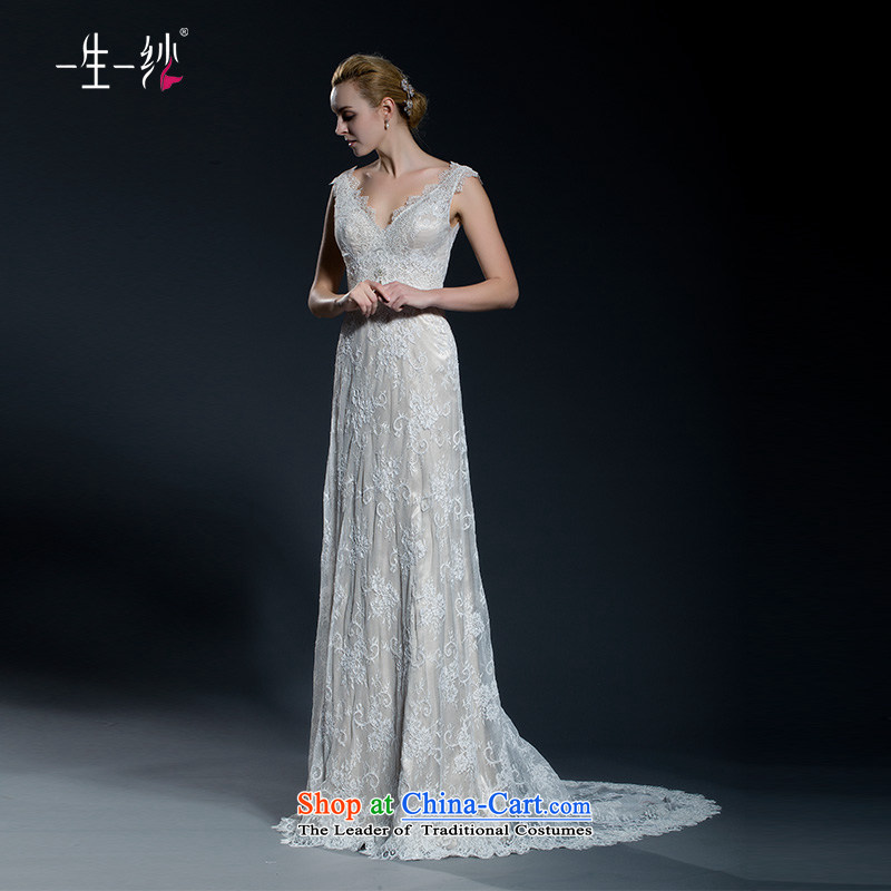 2015 new lace shoulders V-Neck long tail video thin wedding princess lace Korean flower crowsfoot wedding 40251092 champagne color?165_90A 30 days pre-sale