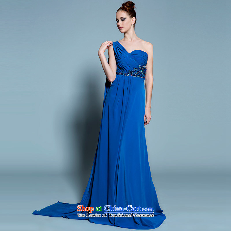 A lifetime of 2015 New blue long gown chiffon Beveled Shoulder dinner will stage a moderator dress?20250201??160/84A blue 30 days pre-sale