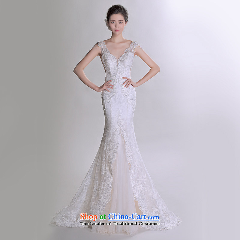 A lifetime of 2015 New lace shoulders V-neck and chest and sexy beauty crowsfoot luxury advanced customization wedding 401501210�30 Day White 165/88A pre-sale