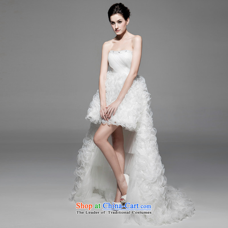 A lifetime of wedding dresses fall new Korean wiping the chest after short long Removable Tail wedding�NW31002��165/90A white thirtieth day pre-sale