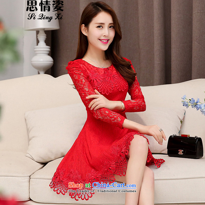Load New autumn 2015 Korean version of wedding lace round-neck collar long-sleeved dresses dress red�XXL