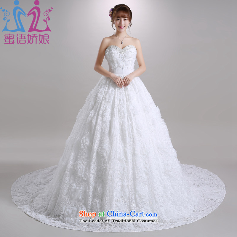 Talk to Her Wedding dress long tail 2015 new wiping the chest to lace Korean sweet marriages large wedding white�L