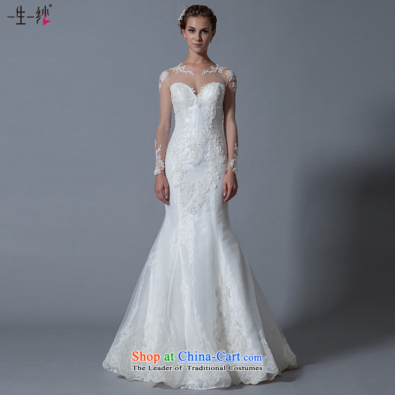A lifetime of 2015 Autumn engraving lace back wedding long-sleeved round-neck collar crowsfoot wedding package shoulder graphics thin white 180_100A 40151128 30 days of pre-sale