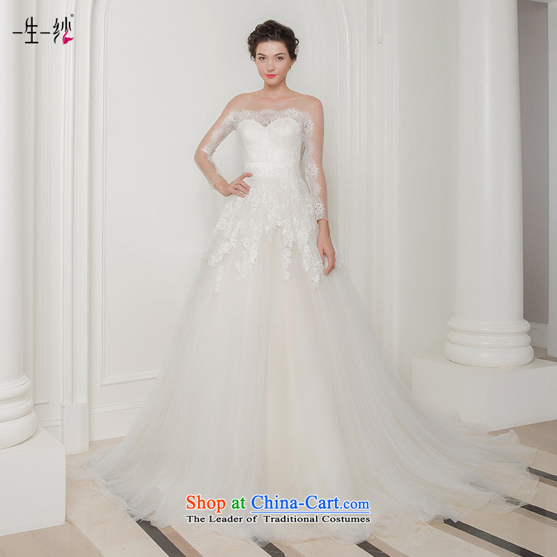 A lifetime of 2015 autumn the new Korean small trailing wedding word shoulder lace pregnant women wedding package shoulder long-sleeved?white?160/84A 401501314 30 days of pre-sale