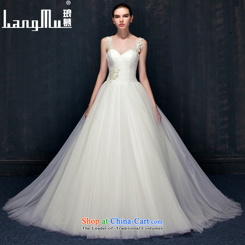 Wedding dresses 2015 Summer new western minimalist shoulders deep V tail marriages wedding dress autumn?S m White