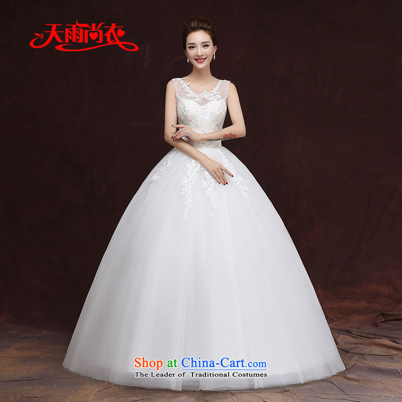 Rain-sang yi?2015 new lace wedding dresses won with minimalist shoulders to align graphics thin autumn word marriages shoulder HS935 White?XL