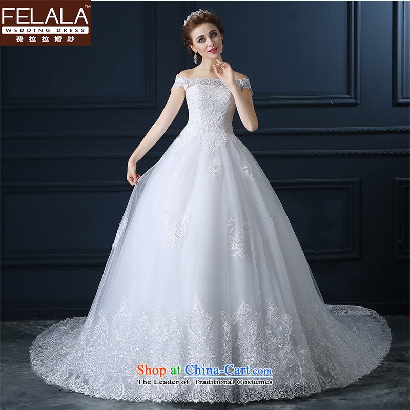 Ferrara wedding dresses long-sleeved slotted shoulder lace marriages bon bon Skirts?1 m tail winter Wedding Dress Short-sleeved 1m tail?M_2 feet_