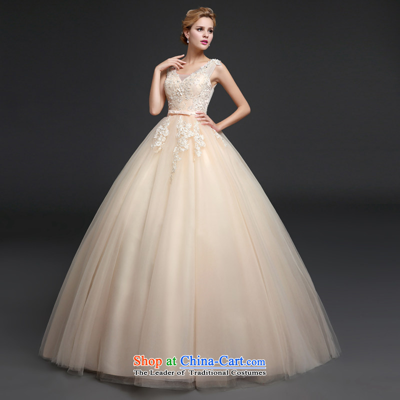 Connie wedding dresses every new 2015 autumn and winter shoulders V bon bon skirt to align the wedding champagne color white bride wedding champagne color XL