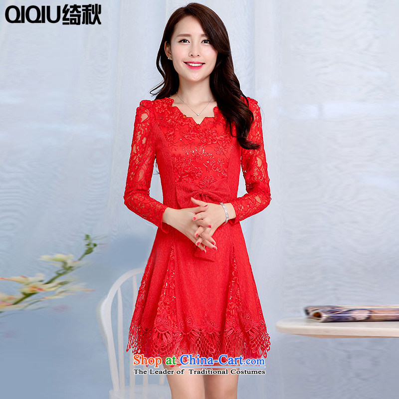 As autumn wedding female 2015 Autumn new long-sleeved lace evening dress in long wedding dresses festive red bridesmaid bows services RED M SERVICES