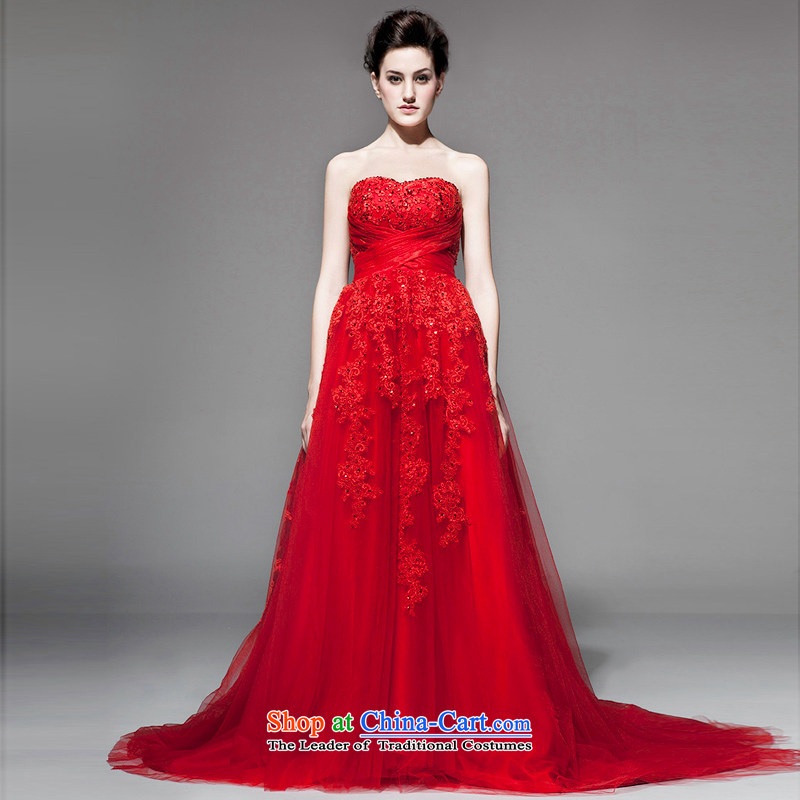 A lifetime of 2015 the new Korean wiping the chest wedding embroidery Foutune of small trailing bon bon skirt pregnant women wedding?NW0718??170/92A red 30 days pre-sale