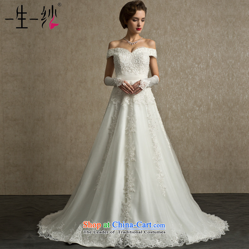A lifetime of Bride Wedding 2015 new retro palace lace nail Pearl Foutune of a field shoulder trailing?white?170_94A FG14003 wedding day 30 pre-sale