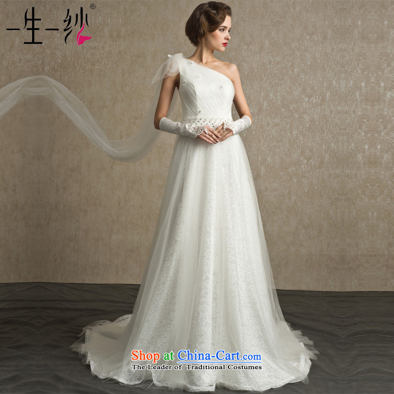 A lifetime of Bride Wedding?2015 new elegant Beveled Shoulder and sexy foutune back Nail-tail pearl?white 170_94A FG14005 wedding day 30 pre-sale