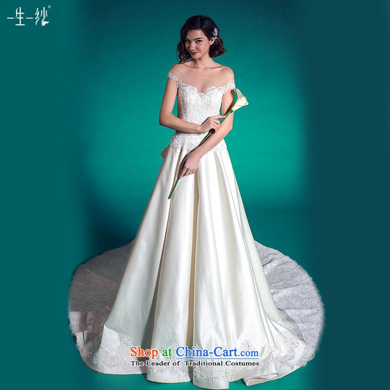 A lifetime of wedding retro Sau San tail Wedding?2015 Autumn minimalist princess skirt wedding?401501366??30 Day White 170_92A pre-sale