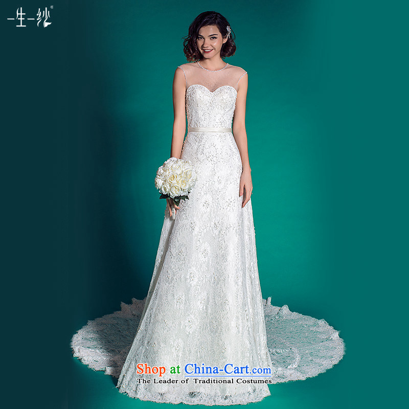 A lifetime of Sau San wedding package shoulder wedding dresses autumn 2015 Western lace long tail autumn 401501367?30 Day White 155/80A pre-sale