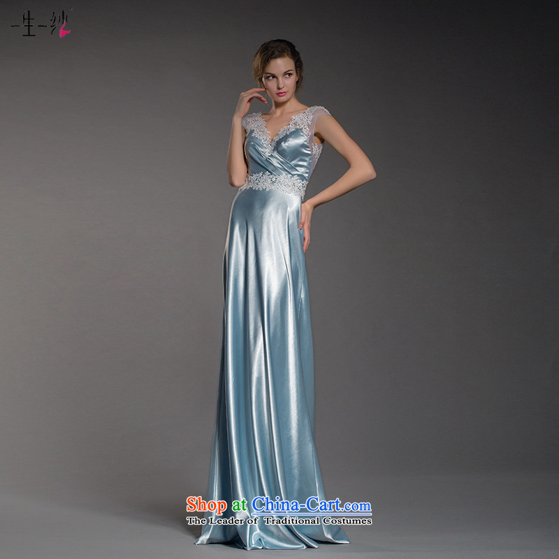 A lifetime of 2015 Autumn new Cinderella sea blue dress deep V-Neck lace decals bridal dresses?402401405??30 day blue 170/94A pre-sale