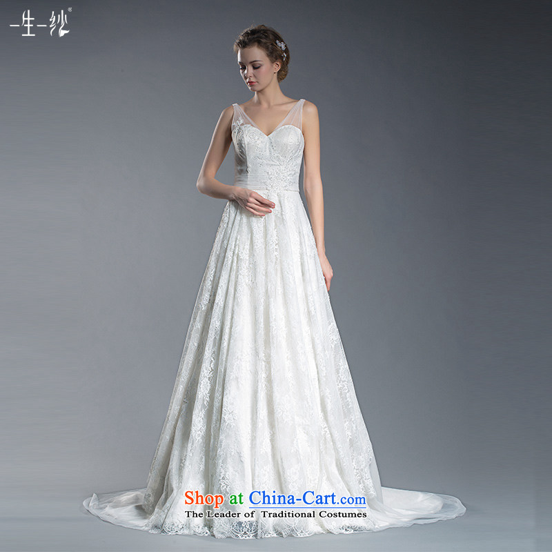 2015 new bride lace shoulders V-Neck Wedding Top Loin of Korean flower tail wedding pregnant women large white聽160_84A 401501379 wedding day 30 pre-sale