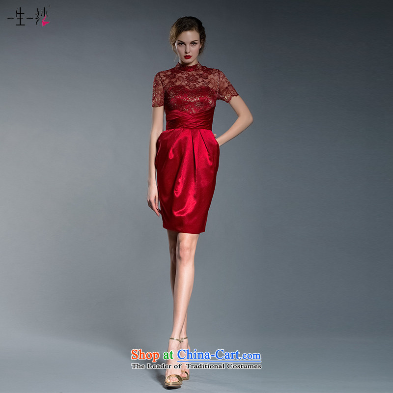 A lifetime of red short)?2015 autumn and winter jackets new bows to Sepia Chinese qipao?402201243 lace?red?165/90A thirtieth day pre-sale