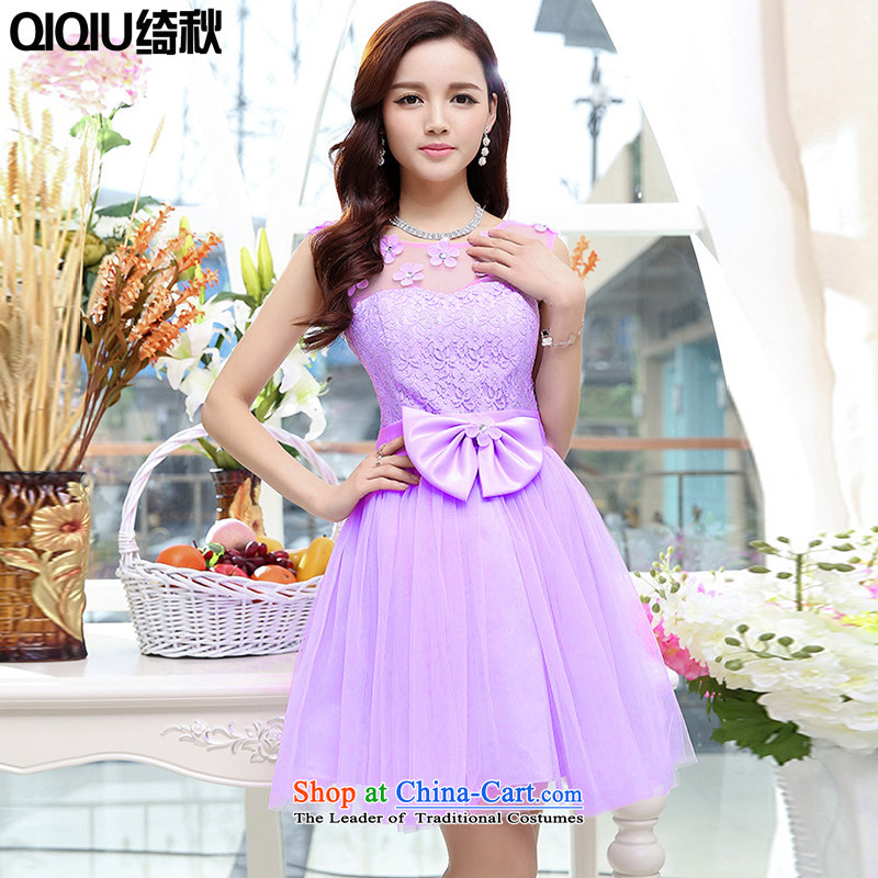 As autumn wedding female 2015 new sleeveless lace bon bon dress in the skirt of bows services bridesmaids will purple?XL