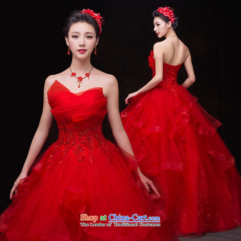 Wedding dresses new 2015 Autumn red wedding dress female Korean wiping the chest straps lace diamond stylish Korean version thin white tail to align the red red wedding M