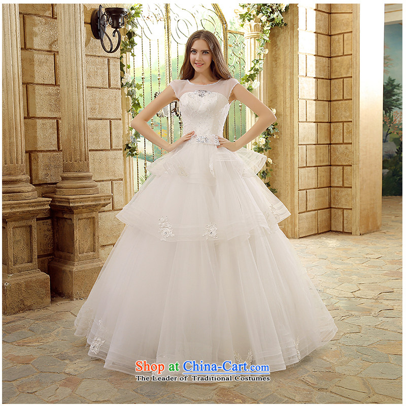 The beautiful new 2015 yarn a field to align the shoulder marriages wedding video thin Sau San tie sexy raincoats floor terrace photography bon bon skirt wedding White XL
