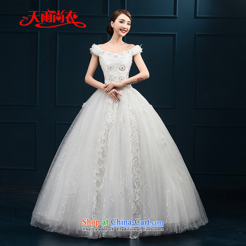 Rain Coat�2015 autumn is Korean New Word dress codes to align the shoulder major diamond bridal lace wedding HS894 White�XXL
