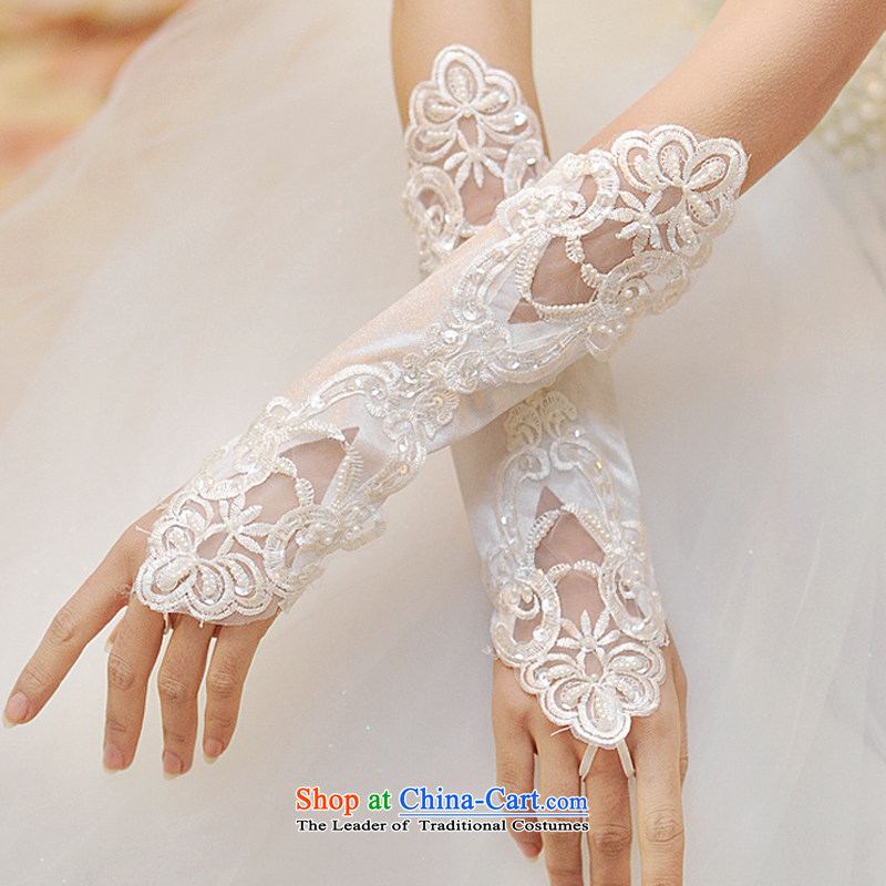 Wedding dress accessories bridal gloves Korean long red lace leak a glove bride white gloves