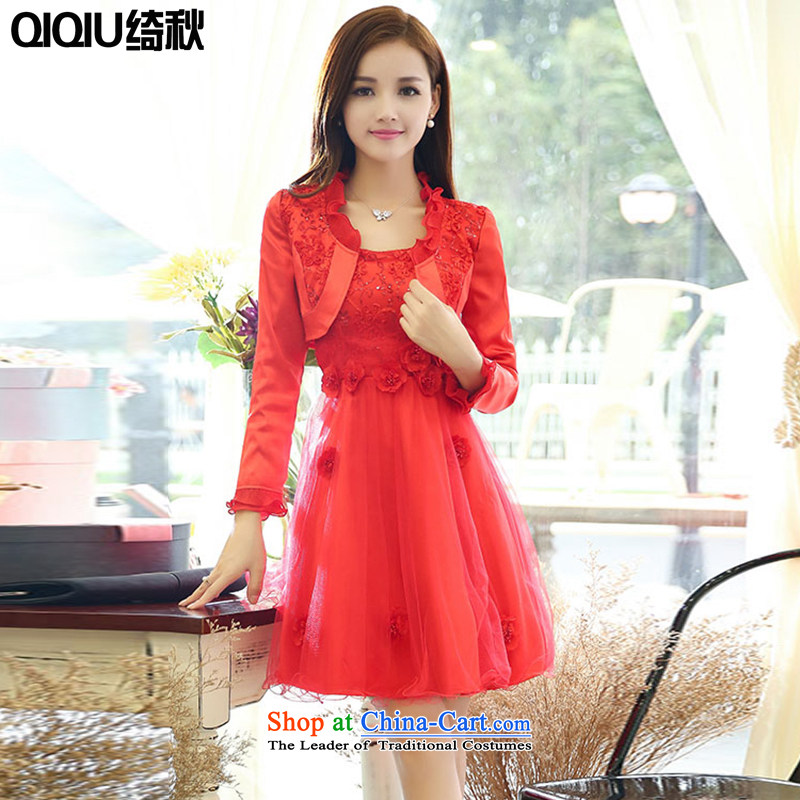 As autumn wedding dresses 2015 new two kits OSCE root yarn festive graphics thin wedding a marriage bows services bridesmaids will larger dresses female red?XXXL